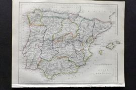 Barclay C1850 Antique Map. Spain and Portugal